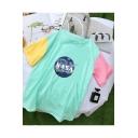Fashion Galaxy NASA Print Colorblock Short Sleeve Summer Cotton Tee