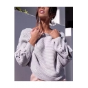 Simple Plain Long Sleeve One Shoulder Pullover Sweater
