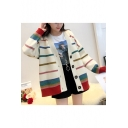 Colorful Striped Printed Collarless Button Closure Long Sleeve Cardigan