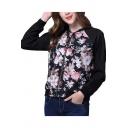 Color Block Floral Printed Stand Up Collar Long Sleeve Zip Up Baseball Jacket