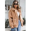 Lapel Collar Plain Long Sleeve Zip Up Faux Fur Jacket with Pockets