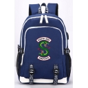 Snake Logo Printed Students Fashion USB Charger School Bag Backpack 30*15*44cm