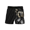 Horrible Skull Print Drawstring Waist Dry-Fit Sport Relaxed Black Shorts