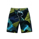 Trendy Style Drawstring Quick Drying Color Block Beachwear Swim Shorts for Guys with Side Cargo Pockets