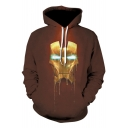 New Stylish 3D Iron Figure Printed Unisex Sport Loose Brown Drawstring Hoodie