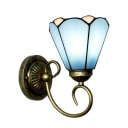 Aqua Petal Shape Wall Sconce Tiffany Style Stained Glass Wall Light for Corridor Bedroom