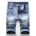 Men's New Stylish Cool Zipper Pleated Crumple Detail Vintage Style Slim Fit Denim Shorts