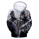 Cool 3D Game Figure Printed Unisex Pullover Grey Hoodie