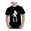 Comic Character Print Short Sleeve Black Casual T-Shirt