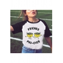 Cartoon Letter FRIENDS Noodles Printed Short Sleeve Round Neck White T-Shirt