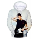 3D Figure Pattern Beige Long Sleeve Loose Fit Pullover Unisex Hoodie