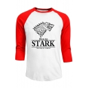 Game of Thrones Stark Wolf Printed Colorblock Long Sleeve Round Neck T-Shirt