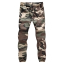 Fashion Drawstring Waist Classic Camo Printed Elasticized-Cuff Cotton Cargo Pants for Men