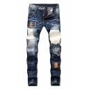 Mens New Stylish Cool Patchwork Distressed Ripped Regular Fit Biker Jeans