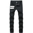 Men's Cool Stripe Patched Knee Cut Stretch Slim Fit Black Jeans