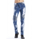 Fashion Bleach Washed Pleated Detail Men's Light Blue Slim Fit Jeans