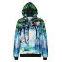 Green Forest Alice and Cat 3D Printed Pullover Sport Relaxed Hoodie