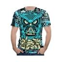 Mens Fashion Night Owl 3D Printed Short Sleeve Blue T-Shirt