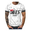 Mens Street Fashion Letter OBES Printed Short Sleeve Fitted Cotton T-Shirt