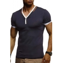 Unique Patched V-Neck Short Sleeve Men's Fitness T-Shirt