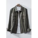 Retro Wash Simple Lapel Collar Long Sleeve Cotton Button Down Work Jacket for Men