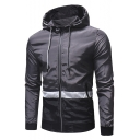 New Trendy Long Sleeve Colorblock Zip Up Drawstring at Hood Mountaineering Track Jacket