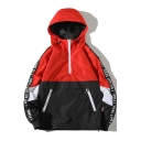New Trendy Letter Print Long Sleeve Colorblock Half-Zip Unisex Sport Anorak Jacket