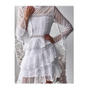 New Arrivals High Neck Flare Sleeve Ruffle Hem Chic Women Lace Mini A-Line Dress