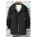 Simple Long Sleeve Plain Zip Up Drawstring Hooded Men's Loose TRack Jacket