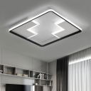 Black/White Square Frame Flush Light Minimalist Acrylic LED Flush Mount Lighting for Corridor
