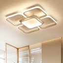 White Square Ring Ceiling Lamp Nordic Style Metallic Energy Efficient LED Flush Mount for Foyer