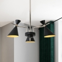 Black Hourglass Hanging Light Nordic Style Metallic 3/6 Lights Chandelier Light for Coffee Shop