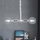 Spherical Chandelier with Open Glass Shade Simple Concise Triple Lights Hanging Lamp in White