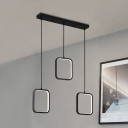 3 Lights Square Frame Hanging Light Metal Contemporary Pendant Light in Matte Black for Dining Room