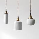 Tube/Bucket/Globe Hanging Lamp with Ribbed Ceramic Shade 1 Light Modern Pendant Lighting in Warm Brass