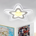 Contemporary Five-pointed Star Ceiling Light Nursing Room Acrylic LED Flush Mount in White