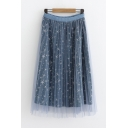 Summer Girls Cute Star Printed Elastic Waist Double Layered Midi Mesh Skirt