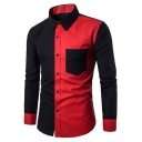 Men's New Stylish One Pocket Patched Colorblocked Fitted Black and Red Shirt