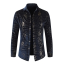 New Stylish Fashion Pattern Men's Long Sleeve Warm Thick Flosssilk Party Shirt in Navy