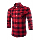 Men's Fashion Classic Plaid Printed Long Sleeve Cotton Slim Button-Up Work Shirt