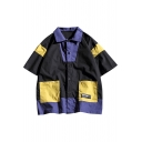 Guys Summer Stylish Colorblock Double-Pocket Patched Half-Sleeve Casual Loose Cotton Shirt