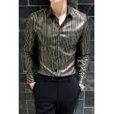 Fashion British Style Guys Vertical Stripe Printed Long Sleeve Slim Fit Shirt