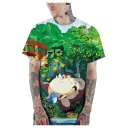 New Trendy Cute 3D Cartoon Pattern Green Loose Fit T-Shirt