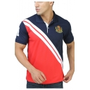 Men's Fashion Colorblocked Simple Logo Short Sleeve Regular-Fit Polo Shirt