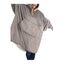 Soft Winter Lazy Long Sleeve Plain Oversize Sherpa Flannel Hoodie TV Blanket