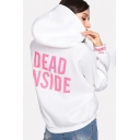 White Long Sleeve Letter Printed Casual Hoodie