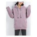 Cozy Plush Long Sleeve Letter LIVE SIMPLE Printed Tunics Oversize Hoodie