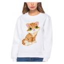 Cute Cartoon Cat Pattern Crew Neck Long Sleeve White Loose Fit Sweatshirt