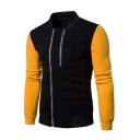 New Stylish Stand-Collar Colorblocked Long Sleeve Double-Zip Front Fitted Sweatshirt for Guys