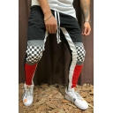 Mens Street Fashion Drawstring-Waist Colorblocked Checkerboard Print Skinny Joggers Pencil Pants